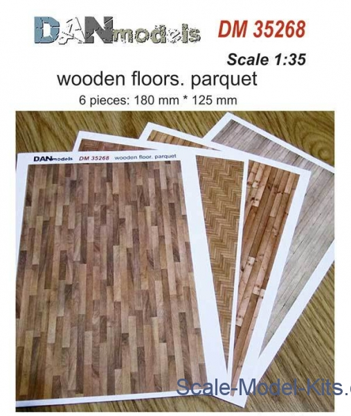 Paper material for dioramas. Wooden floors. Parquet, 6 pieces: 180x125 mm