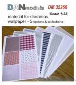DAN35266 Material for dioramas. Wallpapers, 5 options and tablecloths